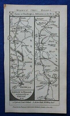 Original antique road map DEVON, EXETER, ASHBURTON, PLYMOUTH, Paterson 1785