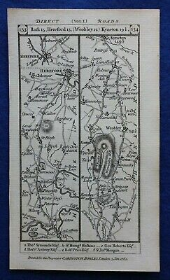 Original antique road map HEREFORDSHIRE, WORCESTERSHIRE, WEOBLEY, Paterson 1785