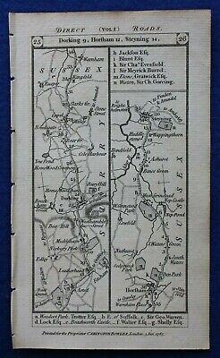 Original antique road map SURREY, SUSSEX, KENT, DORKING, BRIGHTON, Paterson 1785