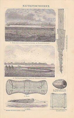 FISCHERREI Schleppnetz Aaalreuse Fischfang HOLZSTICH von 1883 Keitel Treibnetz