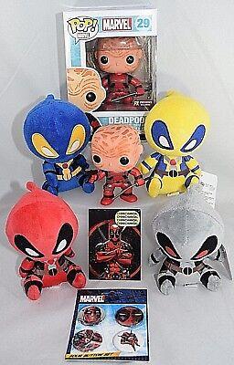 Marvel DEADPOOL Collectors Lot unmasked Funko pop 29 PX Previews Exclusive Plush