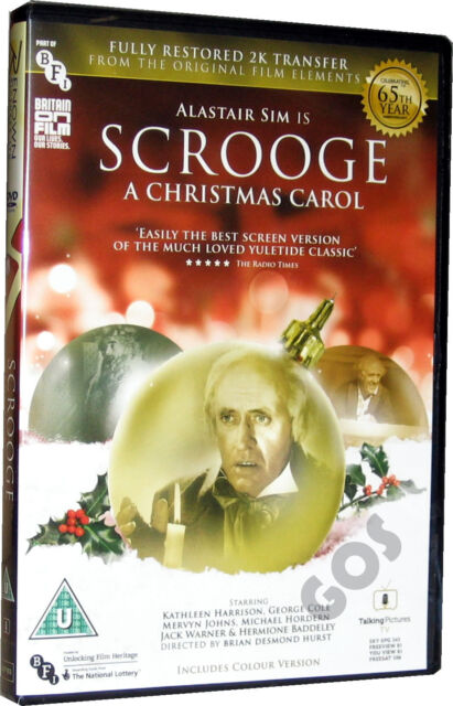 Scrooge A Christmas Carol Alastair Sim DVD Includes Colour Version New Sealed
