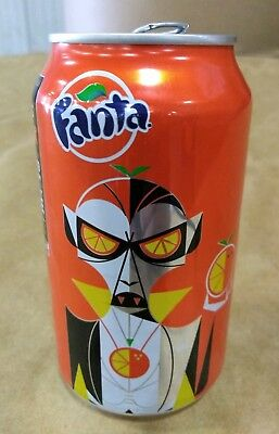 Fanta Orange Halloween vampire / Drácula Empty 12 ounce Aluminum soda pop can