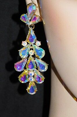 Iridescent Crystal - GOLD AB IRIDESCENT RHINESTONE CRYSTAL DROP EARRINGS /5956