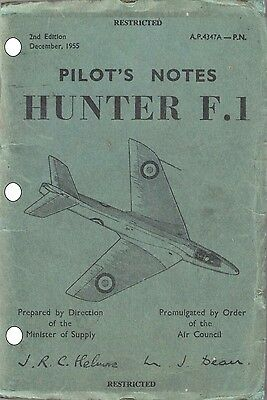PILOT'S NOTES: HAWKER HUNTER F.1/ SUCCESSFUL SINGLE SEAT 50s-70s JET FIGHTER