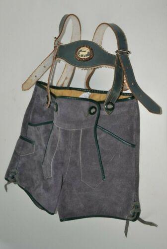 """Vintage Marke Bergfreund German Leather Child Lederhosen Suspenders 18"""" waist"""