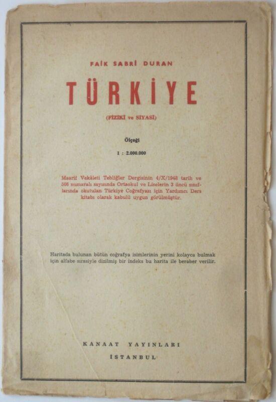 1948 Faik Sabri Duran Map TURKEY Cyprus Ankara Istanbul Adana Izmir Antalya Ordu