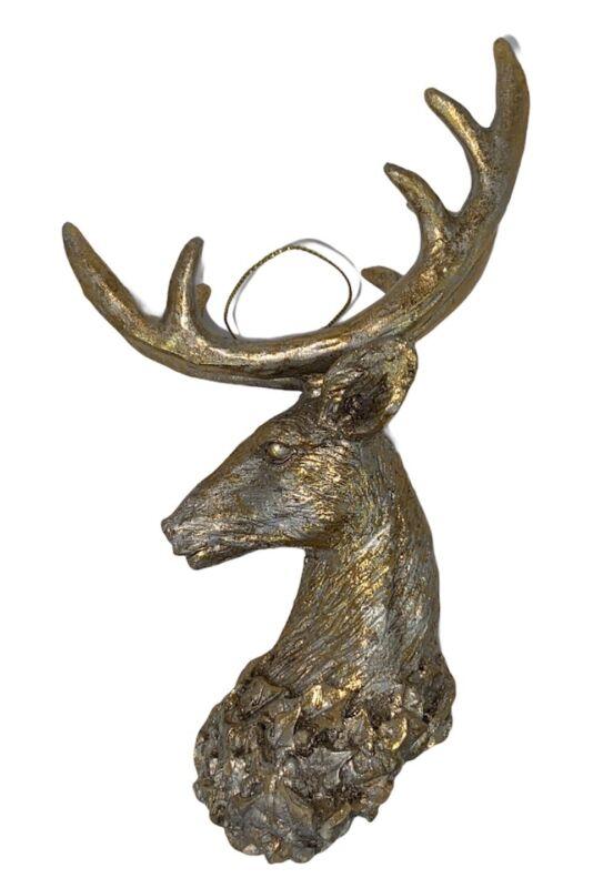 "Deer Head Bust Antler Reindeer Christmas Tree Ornament Cabin Home Decor Gold 7"""