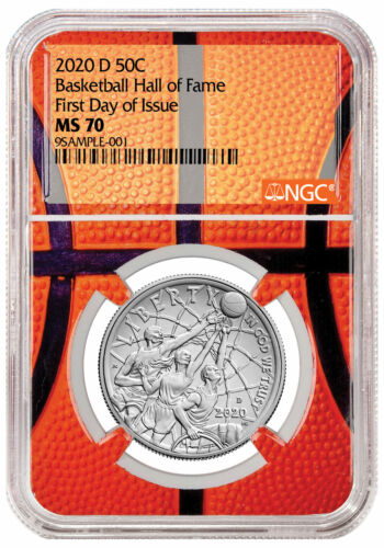 2020D Basketball Hall Fame Clad Half Dollar NGC MS70 FDI Basketball Core Delay