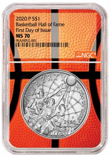 2020P $1 Basketball Hall Fame Silver Dollar NGC MS70 FDI Basketball Core Delay