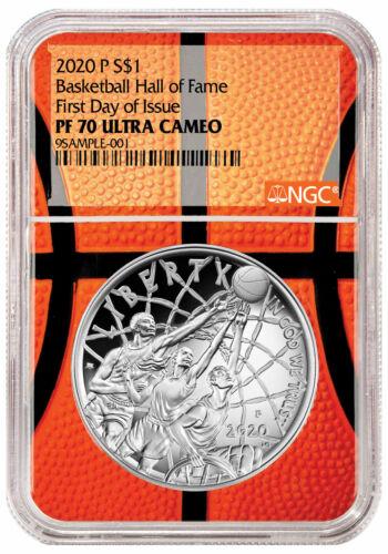 2020P $1 Basketball Hall Fame Silver Dollar NGC PF70 FDI Basketball Core Delay