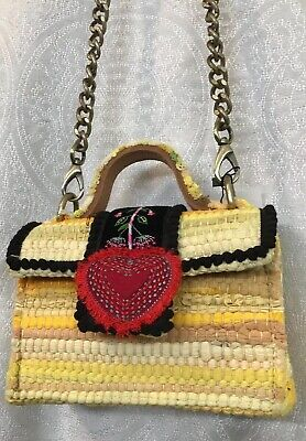 Kooreloo Petite Divine Yellow Mini Bag Flap With Red Heart Long Brass Chain NWT