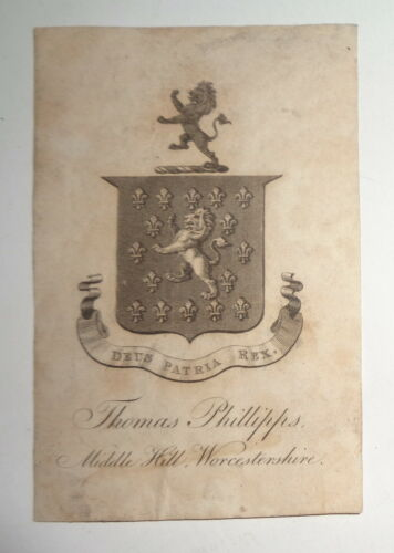 Sir Thomas Phillipps Bookplate - Original - Greatest book collector in history