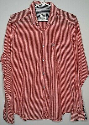 Lacoste Large 42 Slim Tailored Fit Long Sleeve Button Front Shirt Cotton Striped