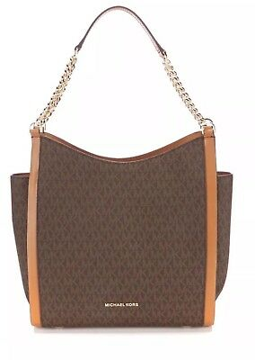NWT MICHAEL KORS NEWBURY MEDIUM CHAIN SHOULDER SIGNATURE TOTE ~  LOGO MK BROWN