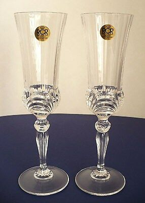 Lot of 2 Crystal Royal Crystal Rock RCR Champaign Flute Glass Italy 8.5