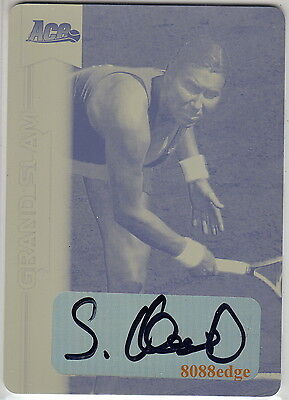 2013 ACE GRAND SLAM TENNIS PRINT PLATE AUTO:SANDRA KLOESEL #1/1 OF ONE AUTOGRAPH