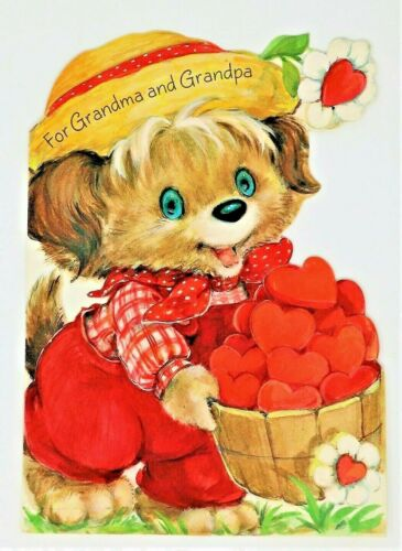 Vtg Die Cut Happy Valentines Day Greeting Card For Grandparents Dog Red Hearts