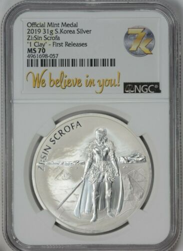 2019 South Korea Silver Medal .999 1 CLAY Zi Sin Scrofa NGC MS70 First Release