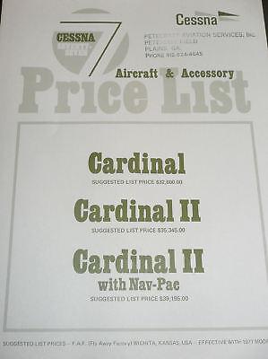 Cessna 177 Cardinal Price List - Standard & Optional Equipment Instruments