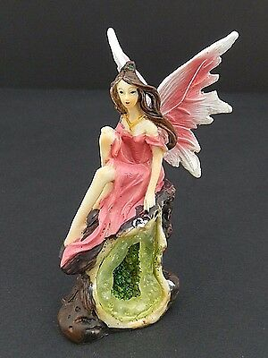 Small Pink Fairy on Crystal Geode Cavern Mythical Statue Fantasy Figurine