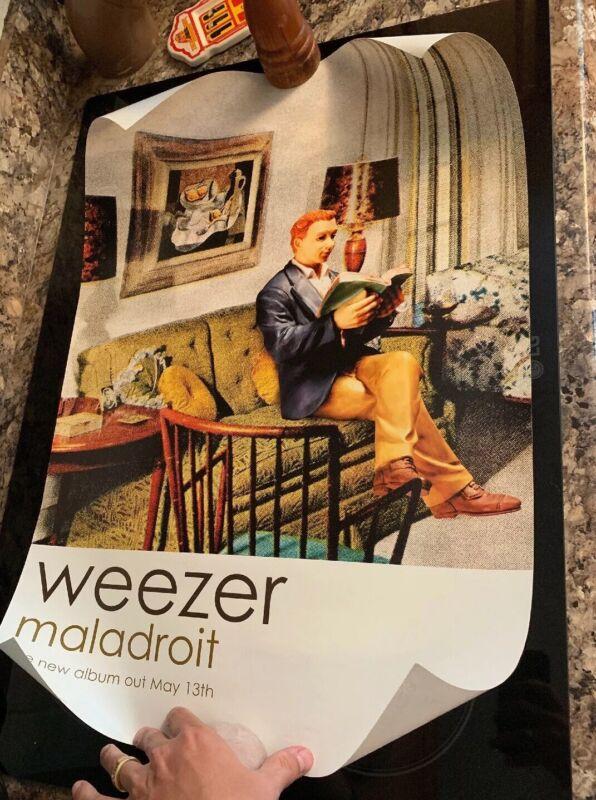 "WEEZER Rare 2002 PROMO POSTER of Maladroit Album Unhung 28"" x 18.5"" Geffen"