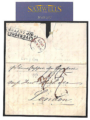 MS501 1827 USA to GB transatlantic ship letter James Cropper water closet fame