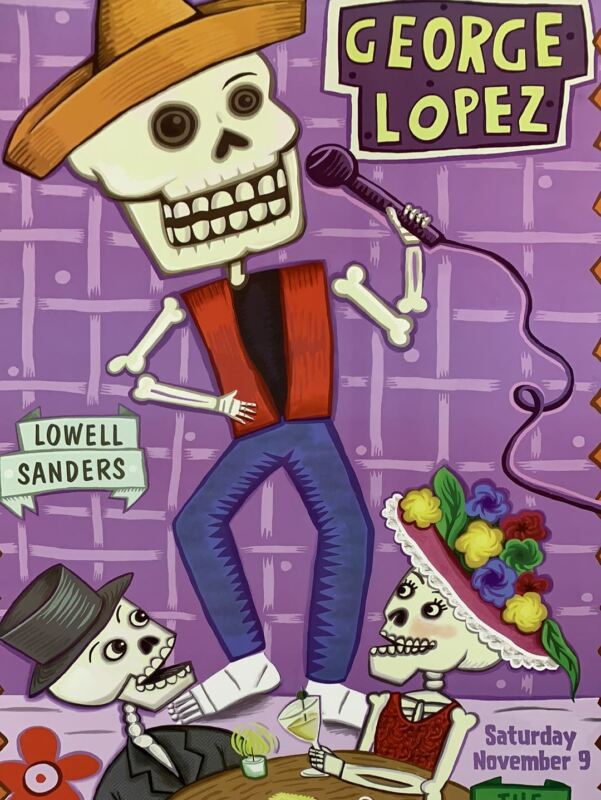 George Lopez - 2002 Barbara Pollack poster The Warfield Theatre San Fran 1st