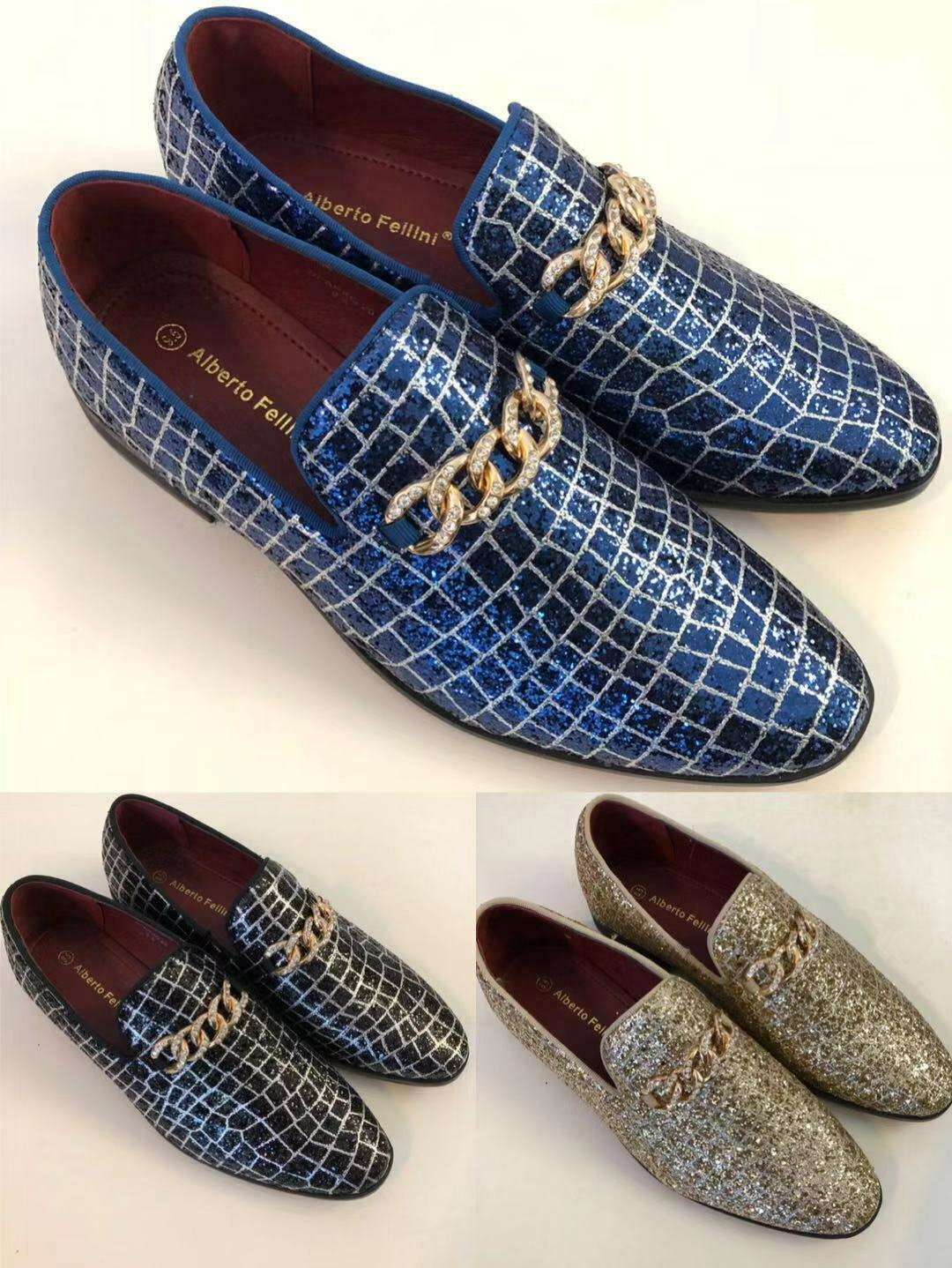 Men Vintage Glitter Stage Dress Shoes Tuxedos Loafers Slip On Classic SpK4.5.12  1