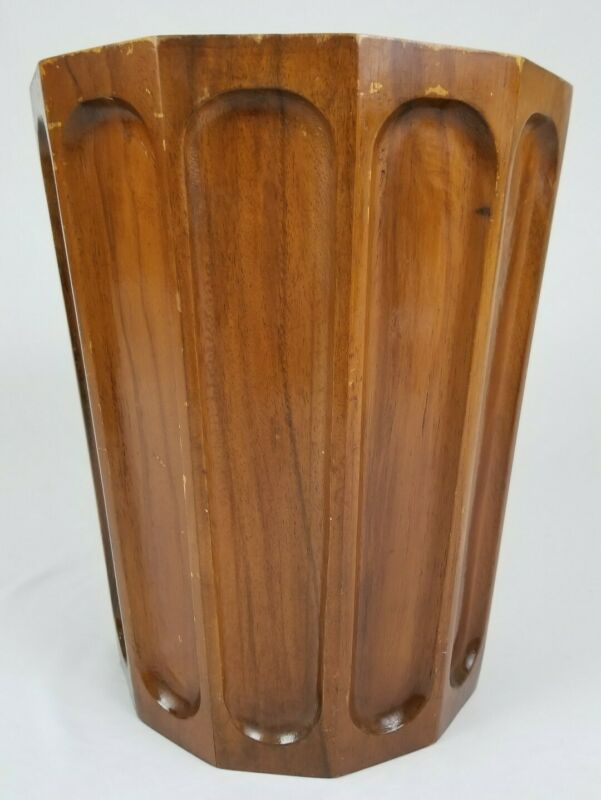 Vintage Wood Paneled Umbrella Stand Cane Walking Stick Holder Trash Can 16""