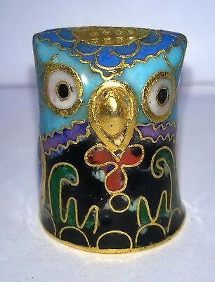 LOVELY CHINESE CLOISONNE OWL SHAPED THIMBLE