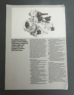 Vintage 1982 BMW 12 MARINE ENGINE Flyer sailing boat yachts advertisement photo
