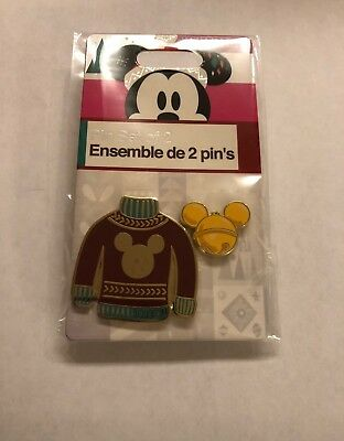 Disney Store 2018 Red Ugly Sweater and Mickey Icon Pin Set New with - Ugly Sweater Store