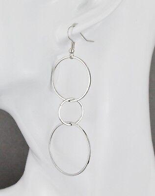 Silver circle link dangle earrings chain links 3.25