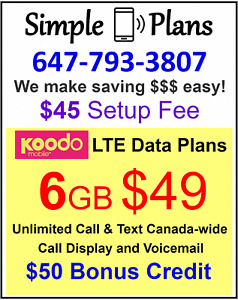 Koodo Plan - $49 6GB LTE Data with unlimited Canada talk & text