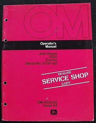 Original 1972 John Deere 7020 Tractor Operators Manual Clean Serial 2700 Up