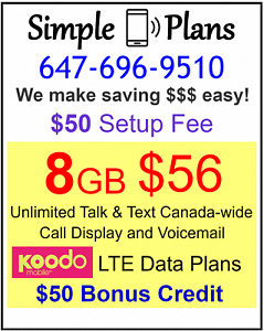 Koodo Plans - $56 8gb LTE Data UNLIMITED talk and text