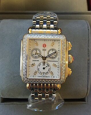 NEW Authentic Michele Deco Diamond Two Tone Gold MOP MWW06P000108 Ladies Watch