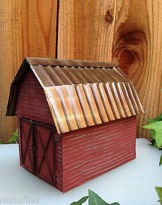 Miniature Dollhouse Fairy Garden   Rustic Farm Red Tin Barn   New