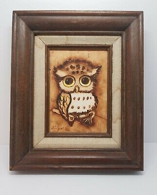 Vintage Owl Oil Painting 1974 11×9 wood frame