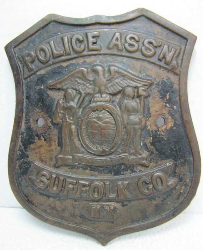 Old Bronze POLICE ASSN SUFFOLK Co NY Plaque Sign retired ornate high relief bdge