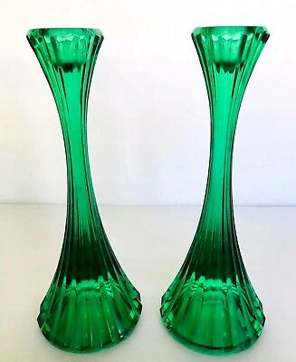 "ANTIQUE PAIR GREEN MOLDED FLUTED GLASS CANDLESTICKS 8"" TALL HOLLYWOOD REGENCY"
