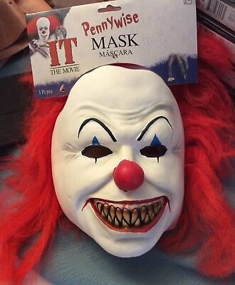 IT THE MOVIE PENNYWISE MASK MASCARA HALLOWEEN MASK NEW WITH TAG.  HOT NEW  - Mascara Mask
