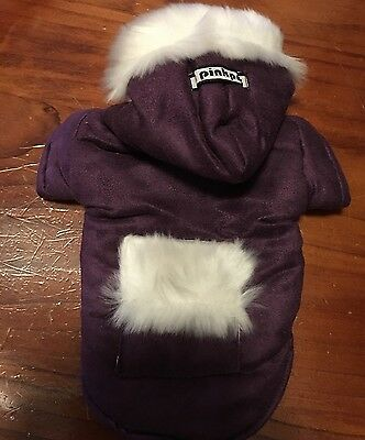 New Dog Pet Costume fur winter coat with hood & pocket  purple colour father Day](Costumes With Fur Coat)