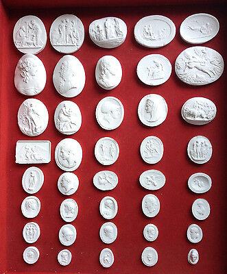 #7. 40 Grand Tour Cameos set intaglios Gems Medallions plaster cameo seals