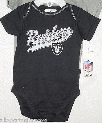 NFL NWT INFANT ONESIE-SET OF 2- OAKLAND RAIDERS 0-3 - Nfl Onesie Set