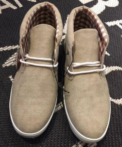 PIAZZAITALIA Sneaker Turnschuhe High Leinen Stoff Schuhe 44 beige