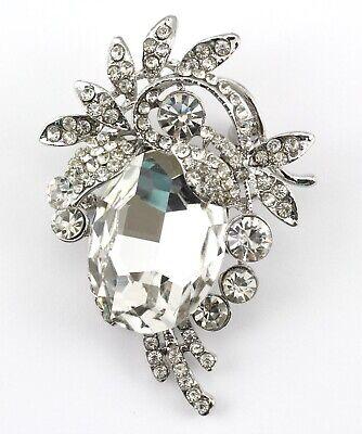 Clear Austrian Crystals Pin (Clear Fancy Austrian Rhinestone Crystal Designer Wedding Bridal Brooch)