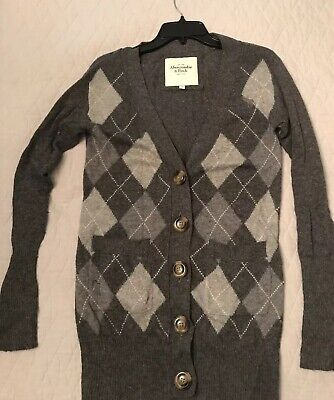 ABERCROMBIE & FITCH XS Cardigan Sweater Argyle Grey Gray V Neck Long Length