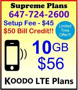KOODO 2GB, 6GB, 10GB, 12GB, 14GB LTE Data Plans + $50 Credit